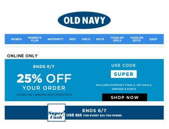 Extra 25% off Your Entire Purchase at Old Navy