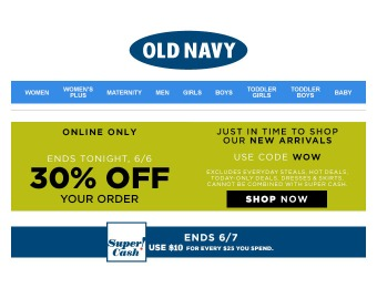 Extra 30% off Your Entire Purchase at Old Navy
