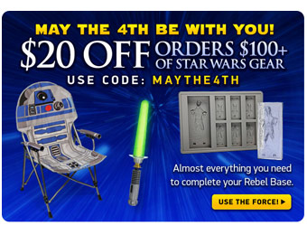 $20 off Orders $100+ of Star Wars Gear w/ code MAYTHE4TH