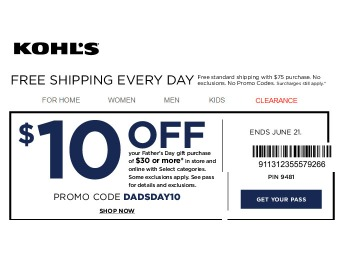 Save $10 off Father's Day Purchases of $30+ at Kohl's