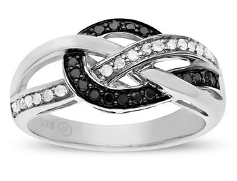 40% off 1/4 ct Black & White Diamond Ring in Sterling Silver