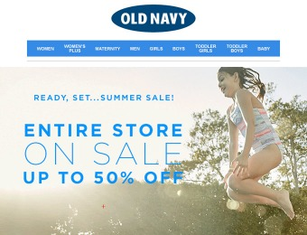 Extra 50% off Your Entire Purchase at Old Navy
