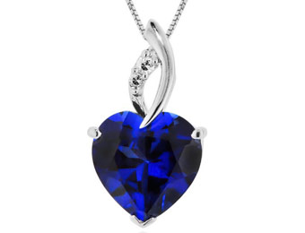 81% off Sterling Silver 7.5ct Blue & White Sapphire Heart Pendant