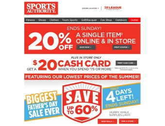Sports Authority Flash Sale - 20% Off Single Item