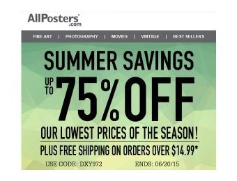 Allposters Summer Claerance Sale - Up to 75% off