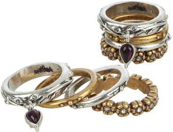 43% off Lucky Brand Two-Tone Floral Stack Rings