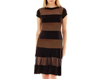 75% off R&M Collection Cap-Sleeve Mesh Striped Dress - Petite