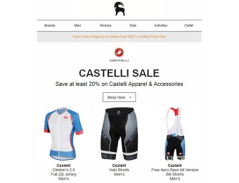 Deal: Save at least 20% on Castelli Apparel & Accessories