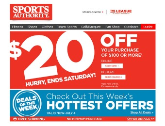 Sports Authority July 4th Sale - $20 off Your Purchase of $100+