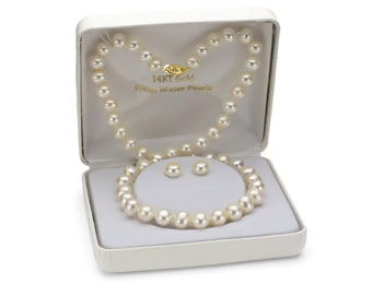84% off 8-9mm White Freshwater Pearl Necklace w/Stud Earrings