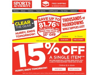 Up to 82% off at Sports Authority - Thousands of New Markdowns
