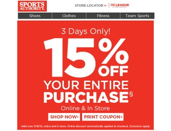 Sports Authority Flash Sale - 15% Off Your Entire Purchase