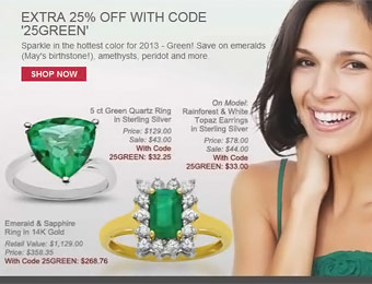 Extra 25% off at Jewelry.com with code: 25GREEN