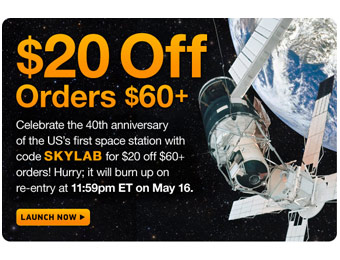 $20 off Orders of $60+ at Thinkgeek.com w/code: SKYLAB