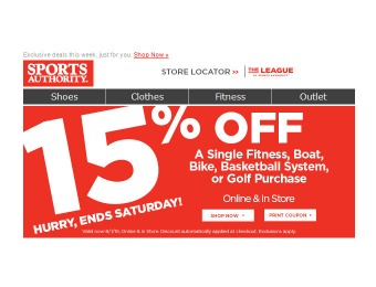 Sports Authority Flash Sale - 15% Off Boats, Bikes, Fitness & More