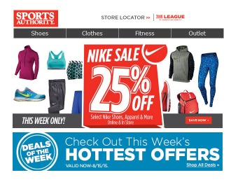 Sports Authority Nike Sale - 25% off Shoes, Apparel & More