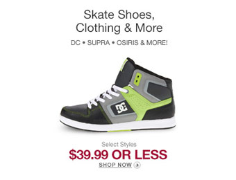 Top Brand Skate Shoes & Apparel for $40 or Less