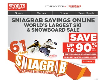 Sports Authority Skis, Snowboards & Equipment Sale - Up to 90% Off