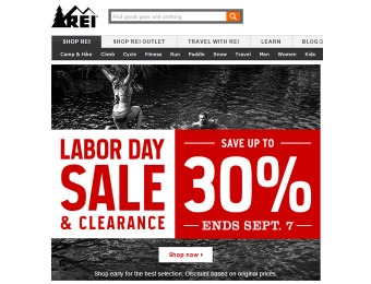 REI 2015 Labor Day Sale - Up to 30% off Thousands of Items