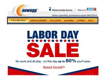 Newegg Labor Day Sale Event - Up to 80% Off Electronics & More