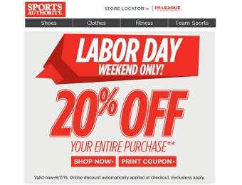 Sports Authority Labor Day Sale - 20% Off Your Entire Purchase