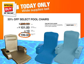 $101 off Texas Recreation Folding Baja Pool Chair, 3 Colors