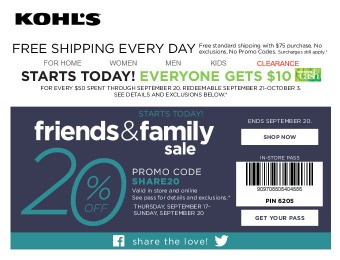 Kohl'S Friends and Family Sale - Extra 20% off Your Purchase
