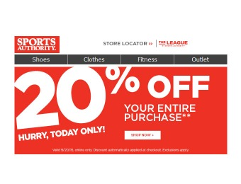 Sports Authority Flash Sale - 20% Off Your Entire Purchase
