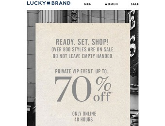 Lucky Brand VIP 48-Hour Sale - SAve Up to 70% Off