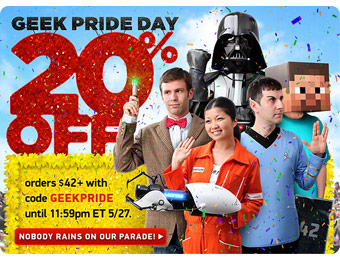 20% off Orders of $42+ at ThinkGeek w/code: GEEKPRIDE