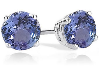 87% off Sterling-Silver 2 carat Simulated Tanzanite Stud Earrings