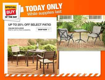 Up to 25% off Select Patio Furniture at Home Depot