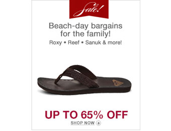 Up to 65% Off Beachwear Shoes & Attire, Roxy,Reef,Hurley,etc.
