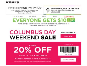 Kohl'S Columbus Day Sale - Extra 20% off Your Purchase