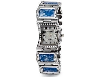 92% off Mother of Pearl Dial Blue Silver Tone Women's Watch