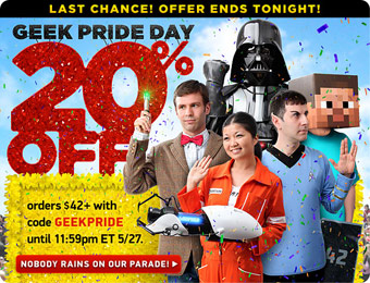 20% off Orders of $42+ at ThinkGeek with code: GEEKPRIDE