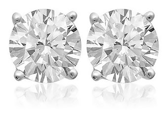 92% off Sterling Silver 2ct White Topaz 6MM Stud Earrings