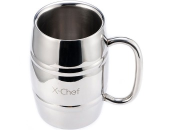 70% off X-Chef 16Oz Double Wall Stainless Steel Beer/Coffee Mug