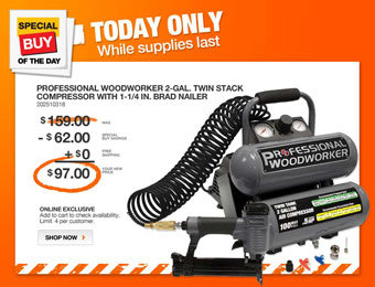 39% off Professional Woodworker Compressor & Nailer Combo Kit