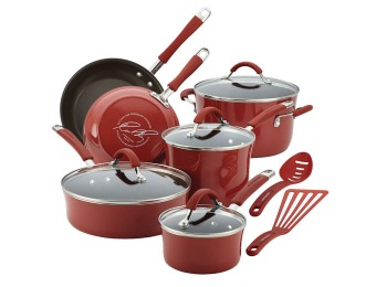 $203 off Cucina Porcelain Enamel 12-Pc Cookware Set, Cranberry Red