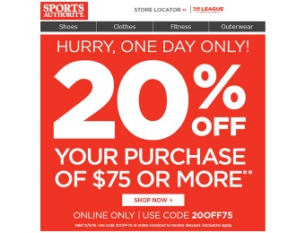 Sports Authority Flash Sale - 20% Off Your Purchase of $75+