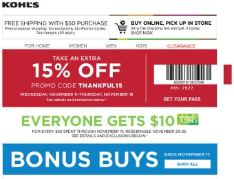 Save an Extra 15% off Your Purchase at Kohls.com