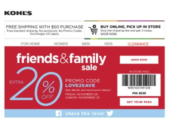 Save an Extra 20% off Your Purchase at Kohls.com