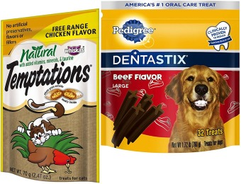 Up to 52% off Select Dentastix and Temptation Dog & Cat Treats