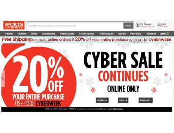 Sports Authority Cyberweek Sale - 20% Off Your Entire Purchase