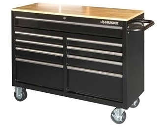 "Deal: Husky 46"" 9-Drawer Mobile Workbench with Solid Wood Top"