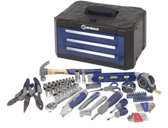 $50 off Kobalt 84-Piece All Purpose Tool Set with 3-Drawer Case