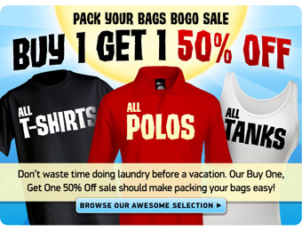 BOGO 50% Off Sale - All T-Shirts, Tanks & Polos at ThinkGeek