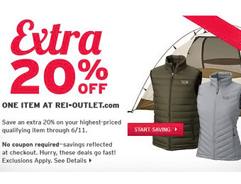 Extra 20% off Any One Item at REI Outlet