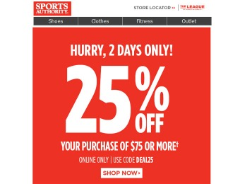 Sports Authority Flash Sale - 25% Off Your Entire Purchase